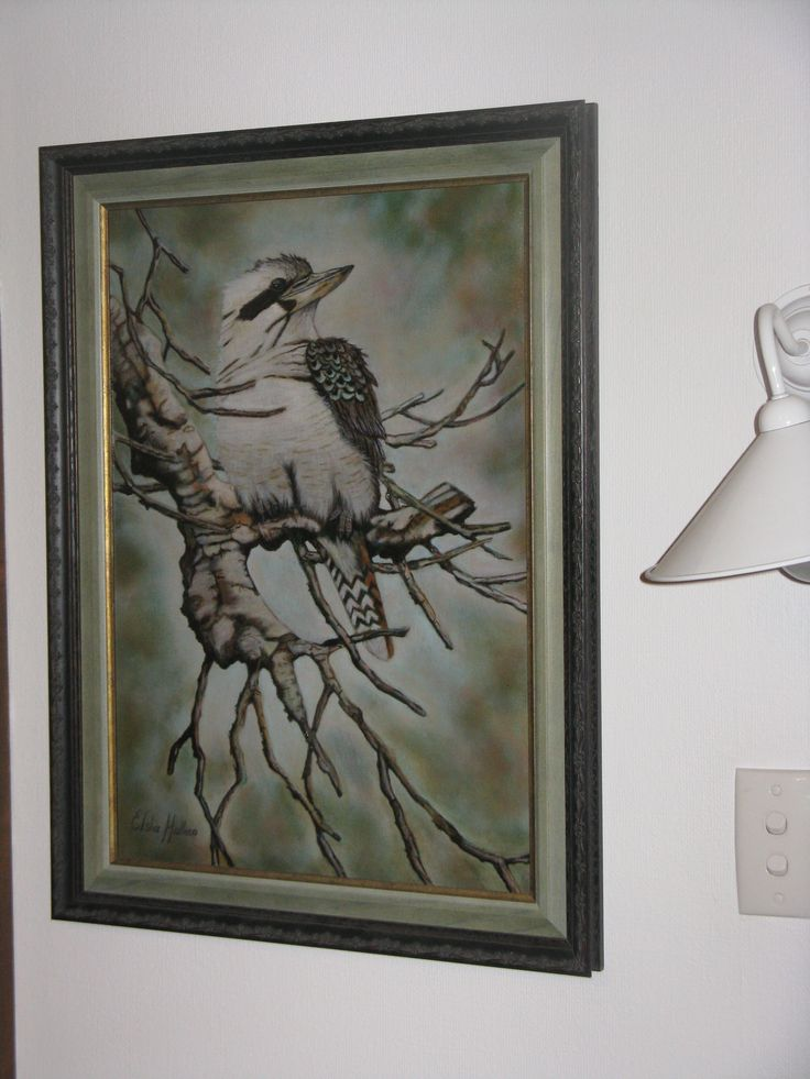 """This one is called """"Kooky"""" and is from a picture I found on the internet of an Australian Kookaburra. It is my second painting, which I painted simultaneously with the one of Fendi (my very first painting) when I started painting classes."""