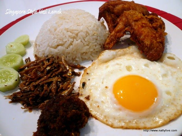 Nasi Lemak  is originate from Malay (Malaysian) food. In Singapore, the popular stores also available both Malay and Chinese style. I wonder...