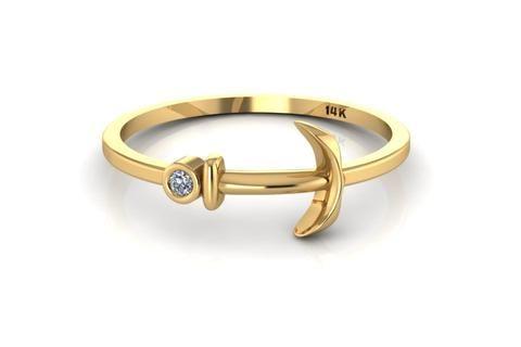 14k Yellow Gold Tiny Anchor Ring with White Diamond