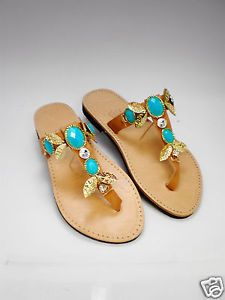 Handmade Genuine Leather Sandals UK size 4 gold leaf and turquoise stones