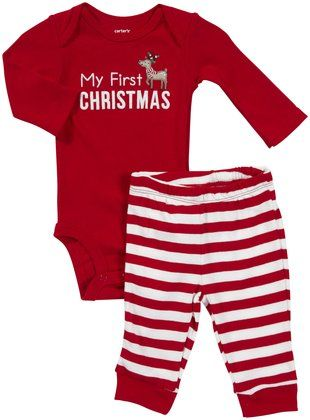 My First Christmas baby onesie with striped red leggings. An adorable 1st