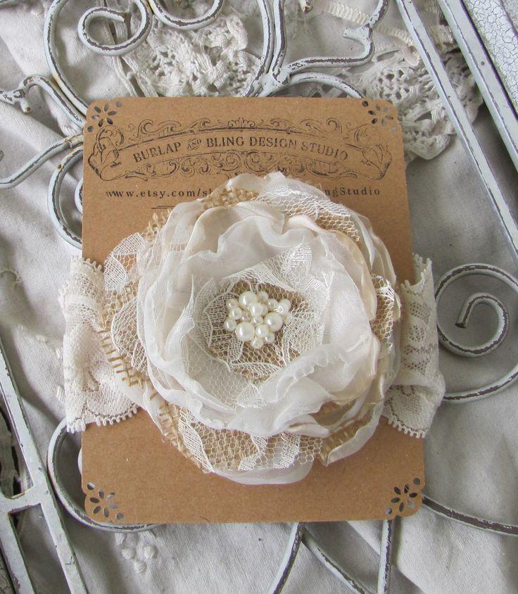 Burlap Headband, Bridal Hair Flower, Fabric Flower Hair Piece, Wedding Hair Flower, Burlap Hair Accessory, Burlap Accessory