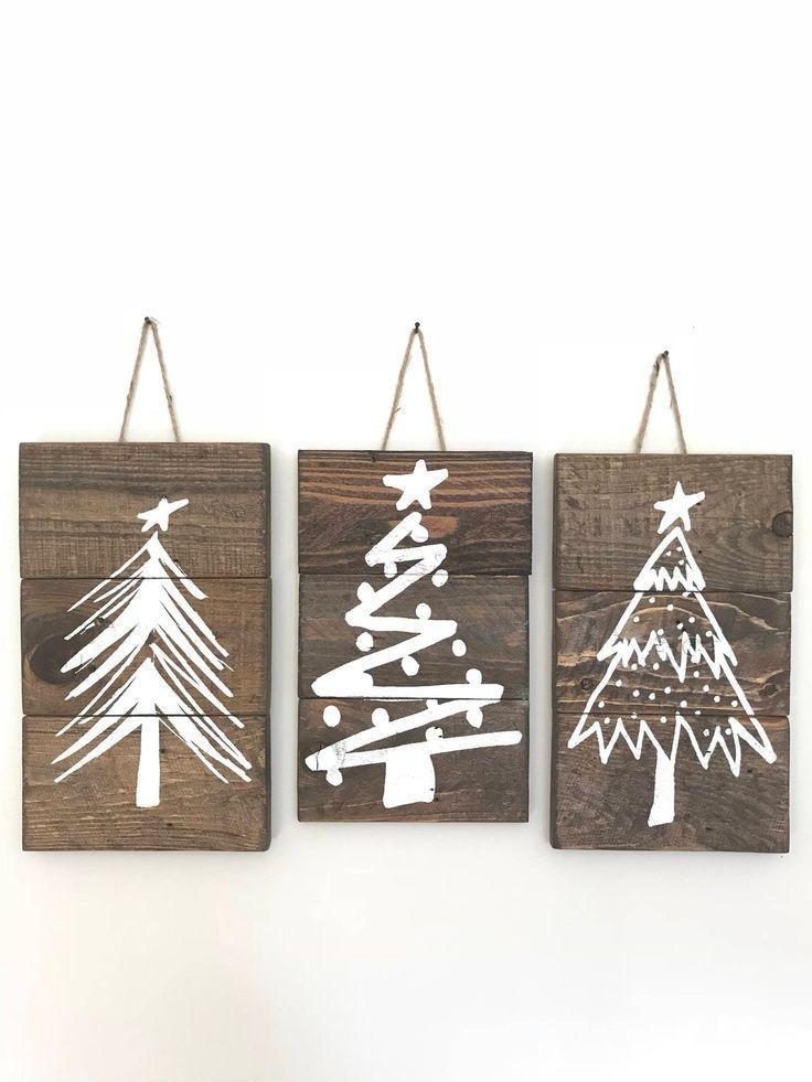 super Rustikale Weihnachtsbaum-Zeichen, Weihnachtsbaum-Zeichen-Set, Weihnachtsbaum-Zeichen, Bauernhaus-Weihnachtsdekor, rustikale Zeichen mit Schnur, Zeichen-Set