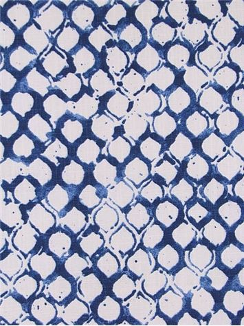 "Sata 563 Lapis -  John Robshaw Designer Fabric - Blockprint Textiles. Perfect drapery fabric or light use upholstery fabric. 100% cotton. Repeat: V: 13.5 H: 6.25, Duraguard finish. Made in U.S.A. DE 42514. 54"" wide"