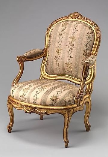 Armchair (fauteuil), Louis Delanois Paris Ca. Medium:Carved And Gilded  Walnut; Silk Brocade Upholstery Dimensions:Overall: 41 × 28 × 23 In.