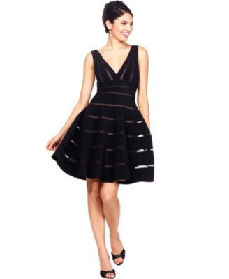 Sleeveless Stripe V-Neck A-Line / JS Collections Dress $189 #blackdress #dress