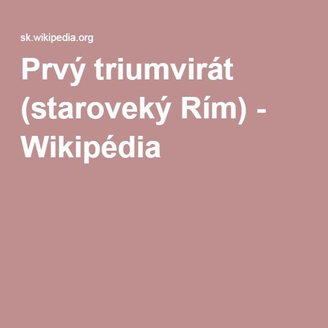 Prvý triumvirát (staroveký Rím) - Wikipédia