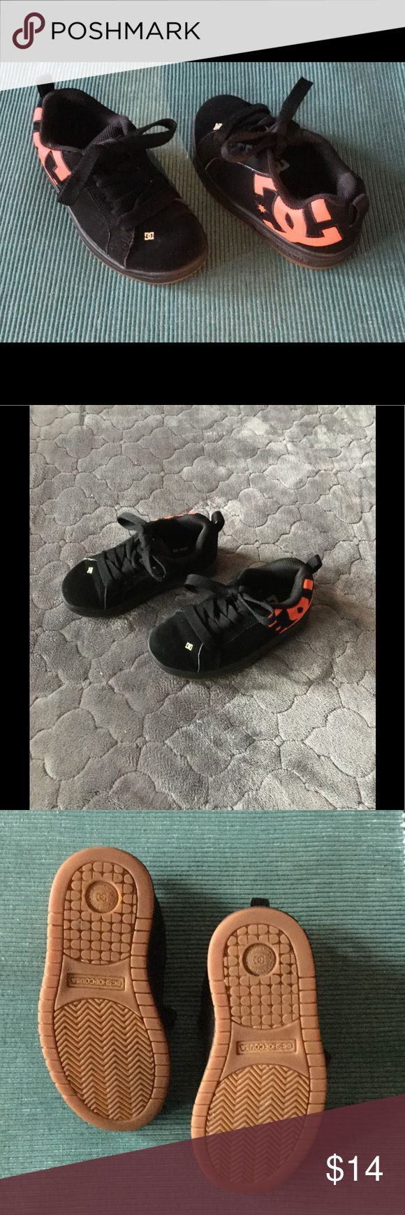 Toddler's DC Skate Shoes Worn but still in good condition - All black suede with orange accent and black laces DC Shoes Sneakers