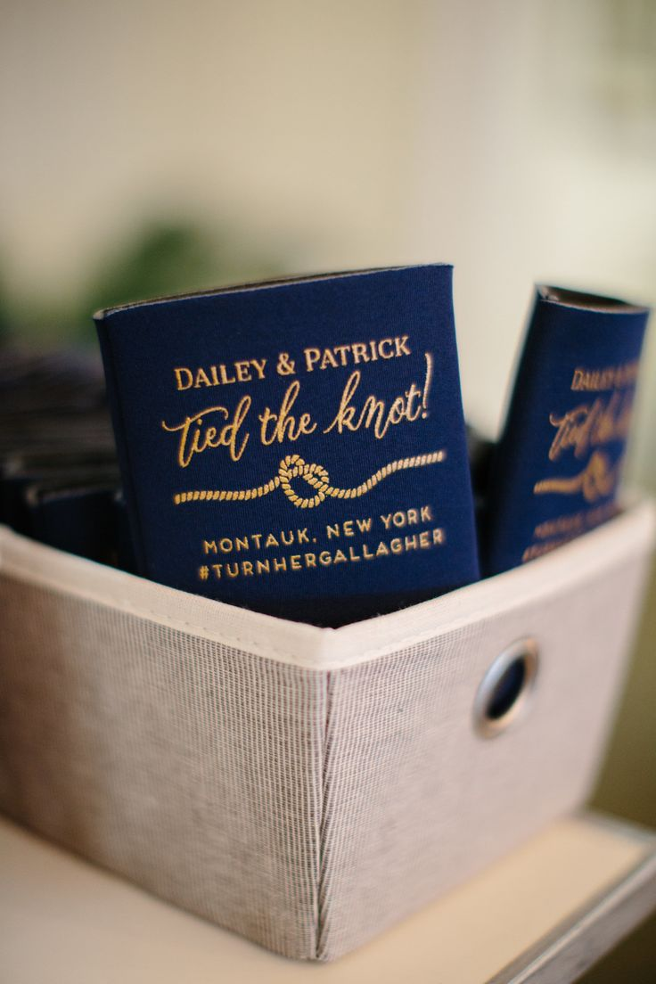Customized coozies, preppy wedding favor ideas, navy blue and gold, wedding hashtag // Vik Photography