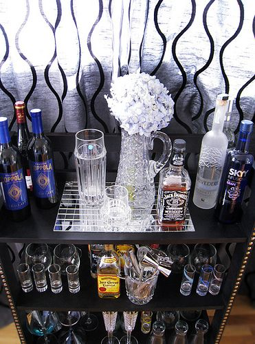 how to make a mini bar from bookshelves+liquor display+home bar by ...love Maegan, via Flickr