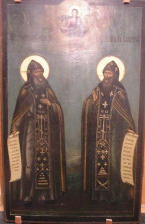 Icona di San Sergio e Herman - i fondatori del monastero di Valaam, Valaam era chudotvortsy.1856