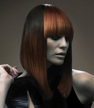 A Long Brown straight coloured multi-tonal poker-straight pob womens hairstyle by Rush