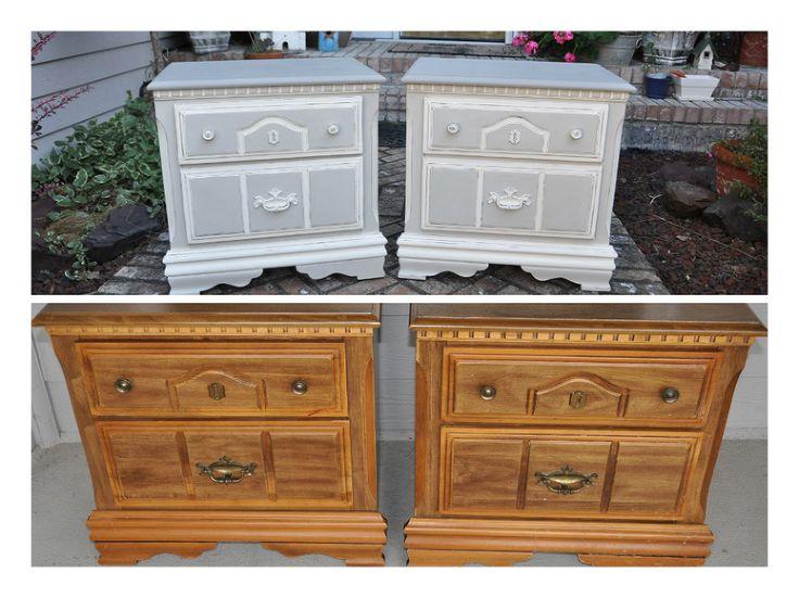 laminate furniture makeover. chic grey linen nightstands laminate furniture makeover