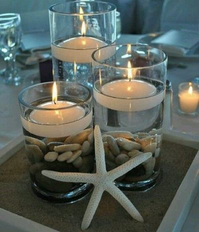 Tiered beach-themed centerpieces - replace candles in taller two with wedding flowers  Great DIY for Beach and Summer themed weddings.  Many...