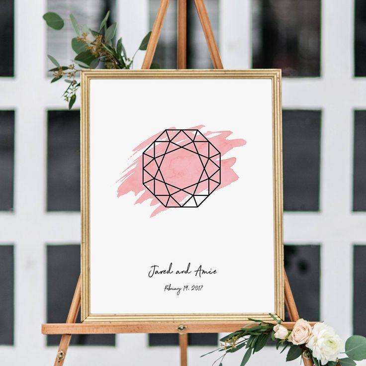 Modern Wedding Welcome Sign -- #HANDMADEADAY |  #diamond #engagementring #etsy #etsyseller #etsywedding #flutterbyeprints #guestbookalternative #guestbookposter #handmadeaday #marquise #oval #pear #poster #print #reception #round #shape #wedding #weddingideas #weddings |