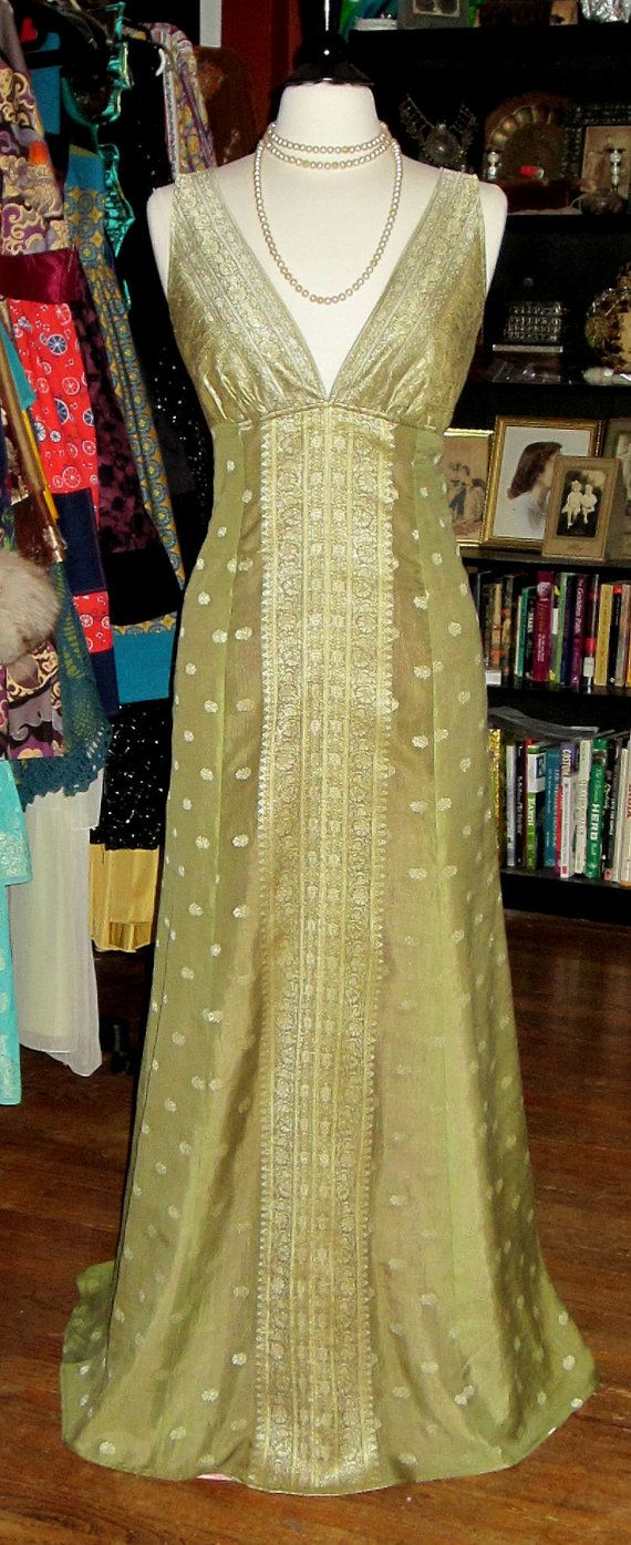 Handmade One of a Kind Sari Silk Theda gown formal wedding 20's Art Deco metallic Only one available! Customs available