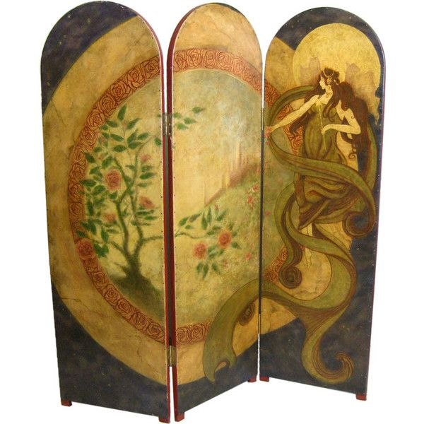 Hand Painted Art Nouveau Folding Screen found on Polyvore