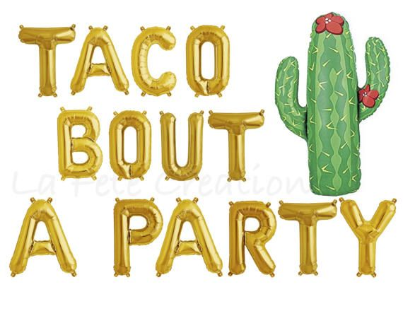"""""""TACO BOUT A PARTY"""" Letter Balloons  16"""" Air Fill only  Choose Letters only or add Large Cactus Balloon  Set of 14 Balloons....""""TACO BOUT A PARTY Air Fill ONLY (balloons will NOT float with helium)  A straw is included for easy manual inflation Balloons have tabs for easy hanging (string not included)  Create a Banner or tape to the wall Self Sealing Balloons  36"""" Cactus Balloon will float when filled with helium Can be filled with air...(self sealing balloon)  Balloons ship…"""