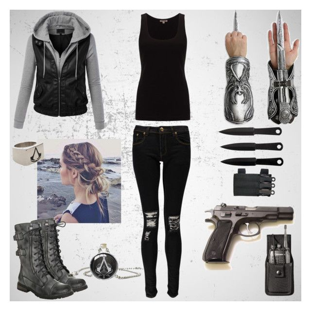 """""""Assassin girl/ Assassin's Creed modern"""" by irishandpround ❤ liked on Polyvore featuring LE3NO, Boohoo, Jigsaw and modern"""