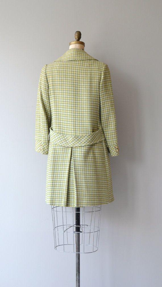 Bandy Plaid coat  vintage 1960s coat  wool plaid 60s by DearGolden