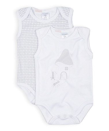 Look at this #zulilyfind! White Mushroom Sleeveless Bodysuit Set #zulilyfinds