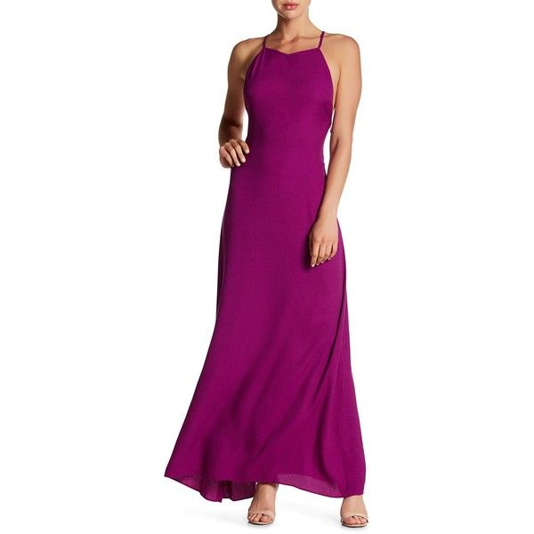 Les Petites Robe Raphaelle Maxi Dress ($57) ❤ liked on Polyvore featuring dresses, amethyst, sweetheart neck dress, purple maxi dress, sweetheart dress, crisscross dresses and criss-cross dresses