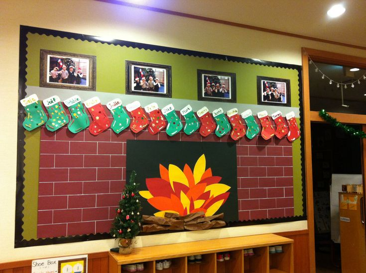 Christmas bulletin board- fireplace with child made stockings and class pictures!