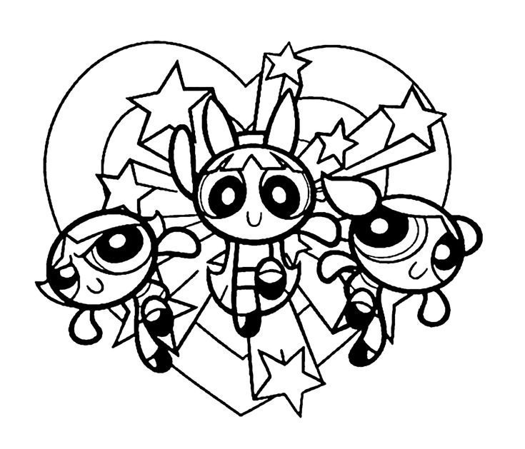 Cool Powerpuff girls on vacation coloring pages for kids