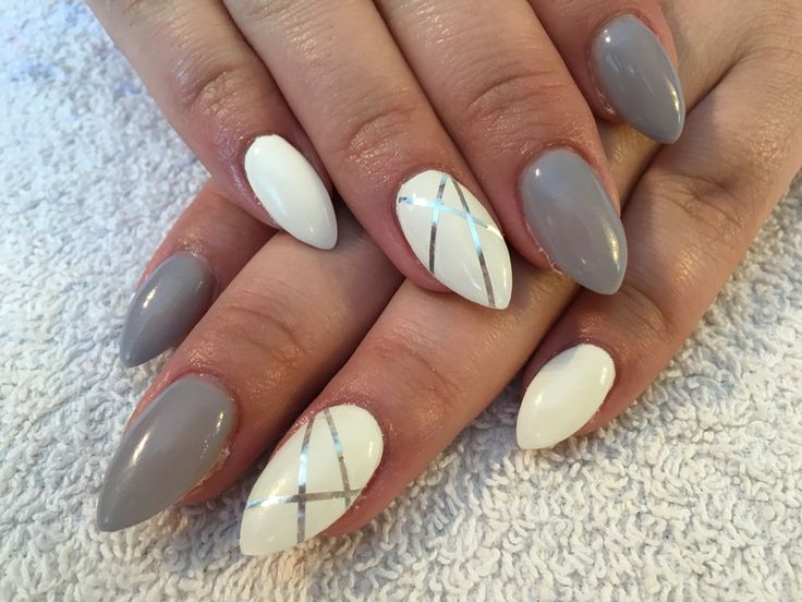 White and gray purple almond shaped nails with striping tape