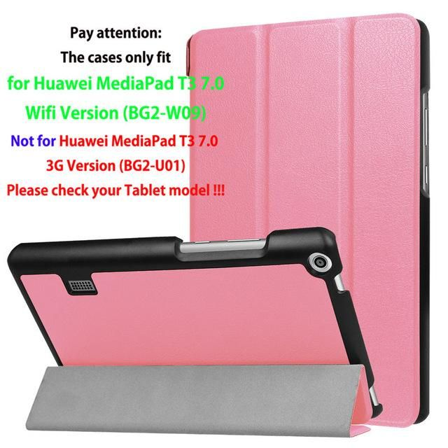 Fashion Girl Case For Huawei MediaPad T3 7.0 BG2-W09 Smart Cover PU leather Funda Tablet for Honor Play Pad 2 7.0 Skin +Film+Pen