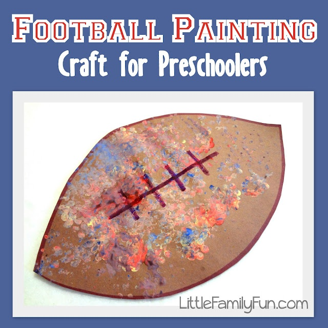 """Fun and easy way to get the """"pig-skin"""" pattern on a football craft! Great for preschool!"""