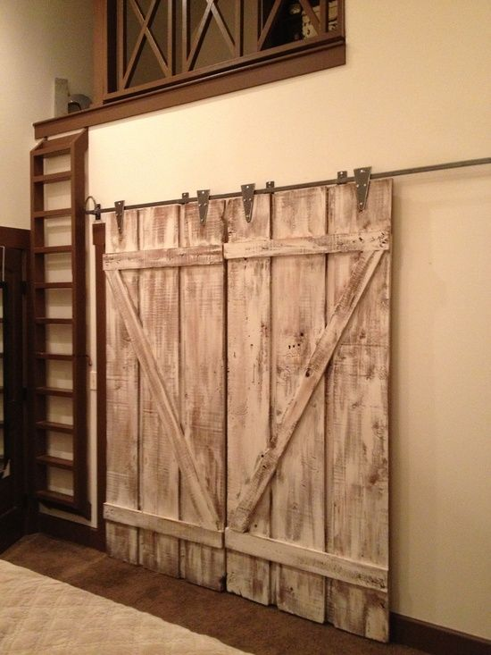 barn style interior doors love it interior design white washed barn doors for the home. Black Bedroom Furniture Sets. Home Design Ideas