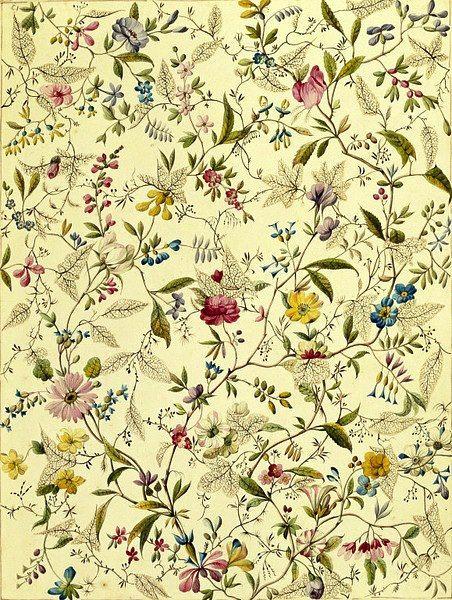 William Kilburn - Flowered Textile Design. England, late 18th century.: