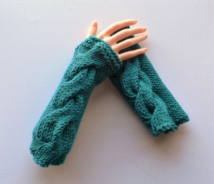 Fingerless Gloves, Steampunk Gloves, Goth Gloves, Wrist  Warmers, Hand Warmers, Teal Gloves, Knit Gloves, Steampunk Clothing, Boho Gloves by RockingPony on Etsy
