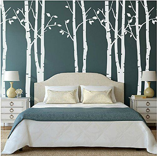 Amazon.com: Set of 9 Birch Tree Wall Decals White Tree Wall Decals Nursery Big Tree Wall Decals for Living Room: Home & Kitchen