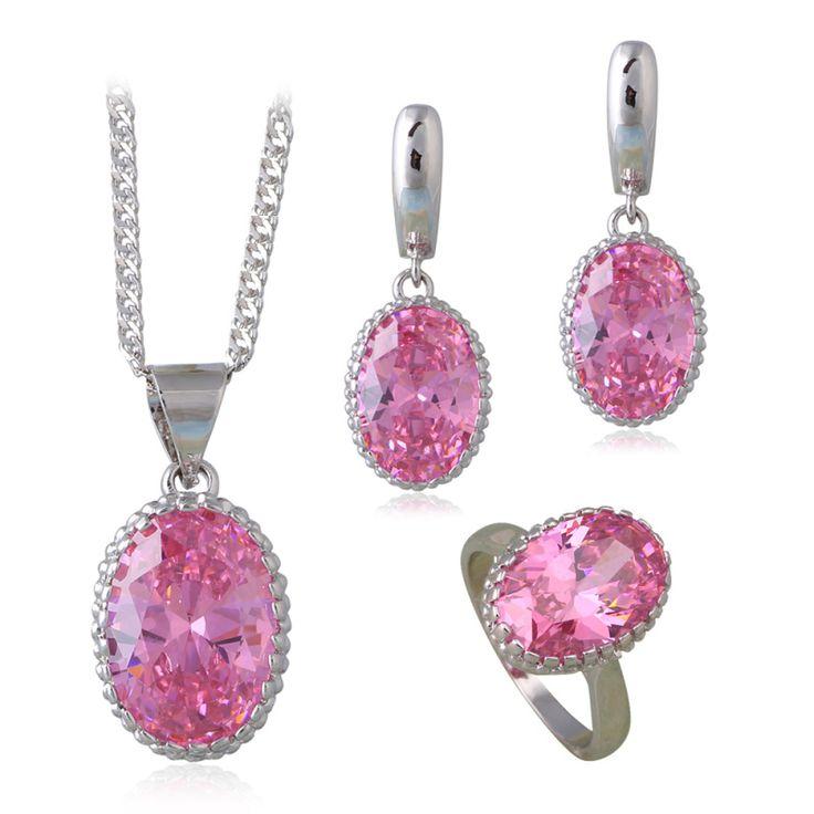Красивый Розовый Циркон Мода Ювелирные Наборы для Женщин Серебряным Чеканным CZ Бриллиантовые Серьги Кольца Ожерелья Sz #6 #7 #8 #9 #10 JS664A