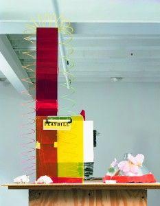 Isa Genzken. Fuck the Bauhaus #4, 2000. Plywood, Plexiglas, plastic slinky, clipboards, aluminum light shade, flower petals, tape, printed paper, shells, and model tree.