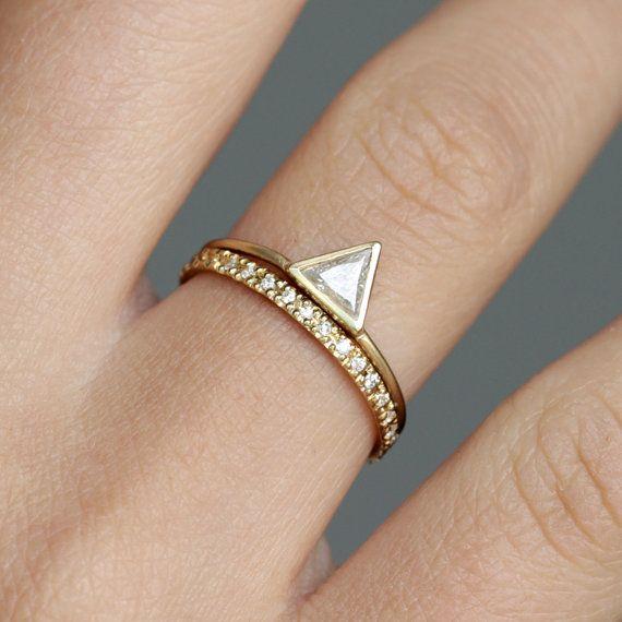 0.25 Carat Trillion Wedding Set with Diamond Infinity Ring - 18k Solid Gold