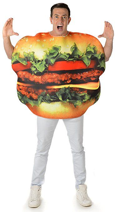 Burger Adults Fancy Dress Fun Food Cheeseburger Hamburger Mens Ladies Costume