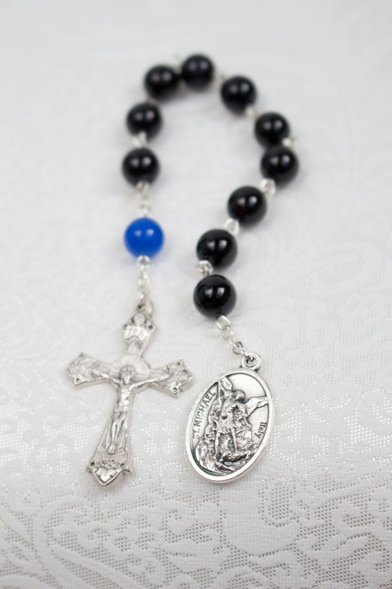 St Michael Thin Blue Line Police One Decade Pocket Rosary, Catholic Rosary on Etsy, $11.00