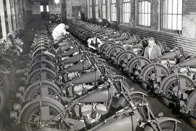 Factory.  WWII bikes.
