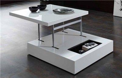 Mesa de centro elevable blanca o negra mesa de sal n for Mesa salon blanca