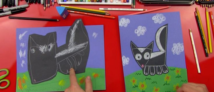 how to draw a skunk for kids