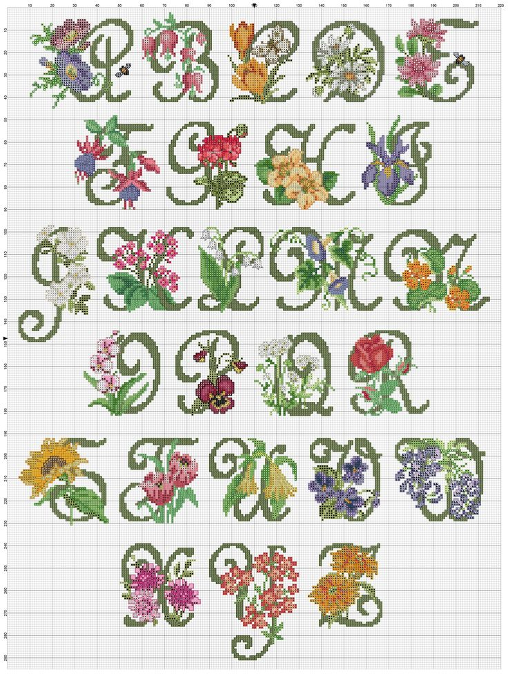 Cross stitch / Point de croix / Punto cruz / Punto croce Garden Alphabet