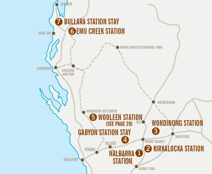 Station Stays Map, where are they located?? Gascoyne-Murchison region of Western Australia. http://www.australiasgoldenoutback.com/outback-accommodation/Farm_and_station_stay