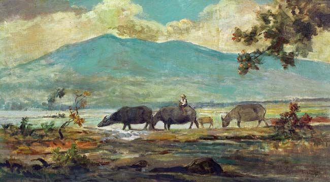 Ernest Dezentje (Jatinegara, 1885 – 1972), Landschap met karbauen.