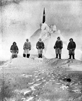 First Men to Reach North Pole  April 6, 1909.  In February 1909, American Navy engineer Robert Peary, several Inuit tribesmen, and fellow American of African descent, Matthew Henson, left their ship anchored at Ellesmere Island's Cape Sheridan. After traveling 480 miles the men reached the geographic North Pole.