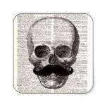 Vintage Skull with Mustache Print on Dictionary Square Sticker #halloween #happyhalloween #halloweenparty #halloweenmakeup #halloweencostume