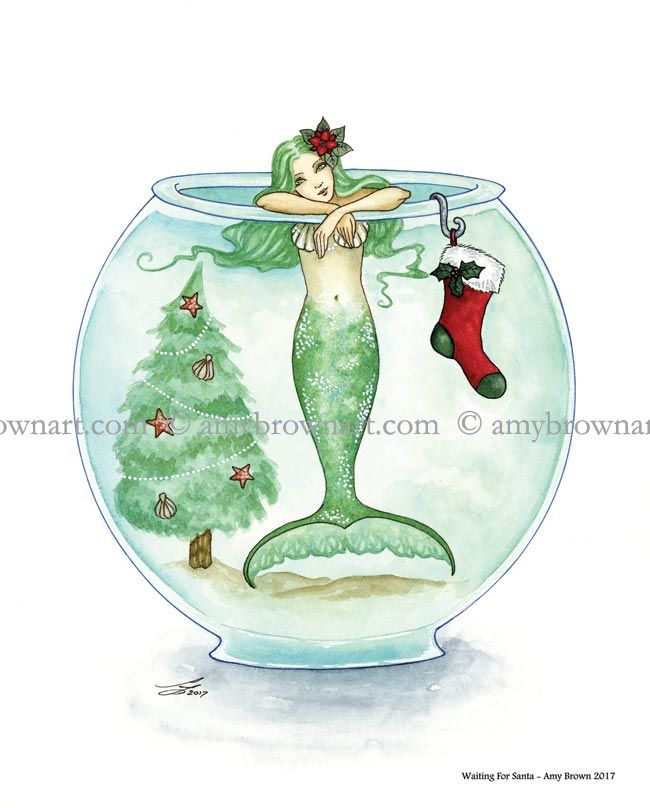 PARADE Seahorse Mermaid Print from Original Painting By Camille Grimshaw fairy