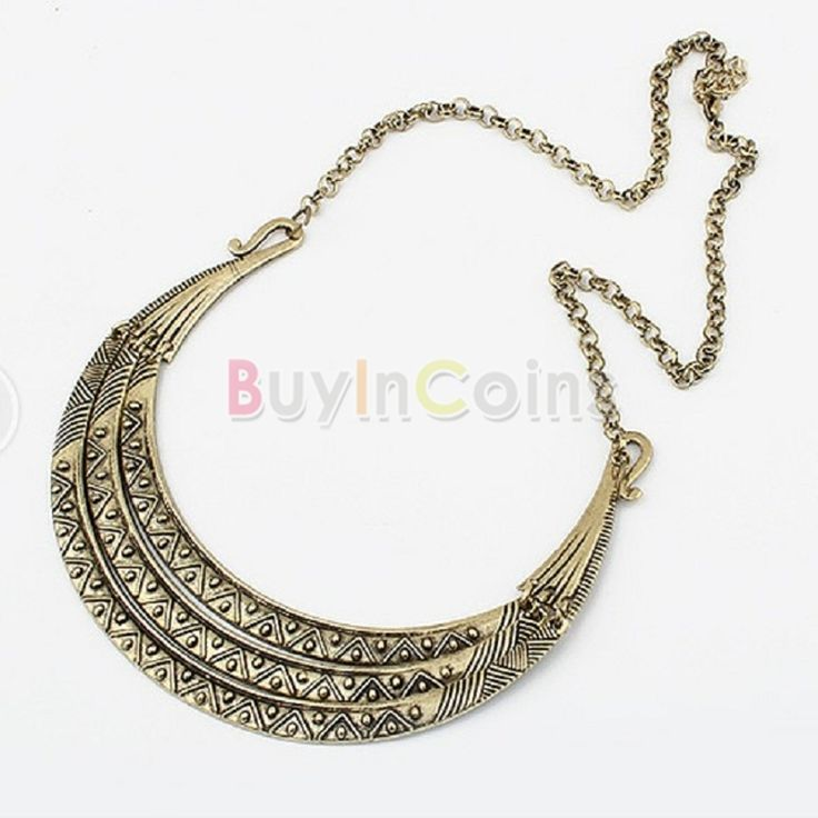 Vintage Metal Three Layers Gold Statement Crescent Tribal Bib Collar Necklace -- BuyinCoins.com